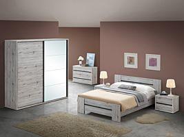 Slaapkamer Evi met bed 140x200cm - schuifdeurkast 220cm