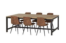 Eetkamer Shaman met 6 stoelen Furu