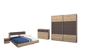 Slaapkamer met bed 140x200cm - kleerkast 181cm
