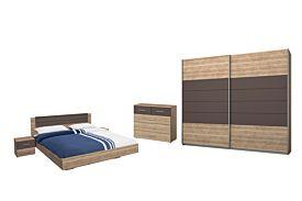 Slaapkamer met bed 140x200cm - kleerkast 226cm