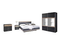 Slaapkamer met bed 180x200cm - kleerkast 181cm