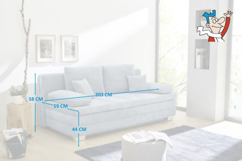 Canape Lit Lindau 2 Personnes Tissu Bleu Meubles Weba Weba Meubles