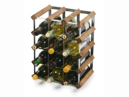 Wijnrek Hout Massief Metaal 42x23x32