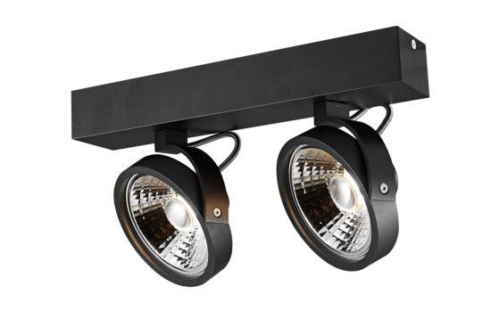 LED spot met 2 spots 12W AR111 zwart