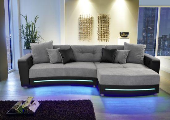 Hoeksalon Laredo lederlook/stof zwart grijs met LED-verlichting