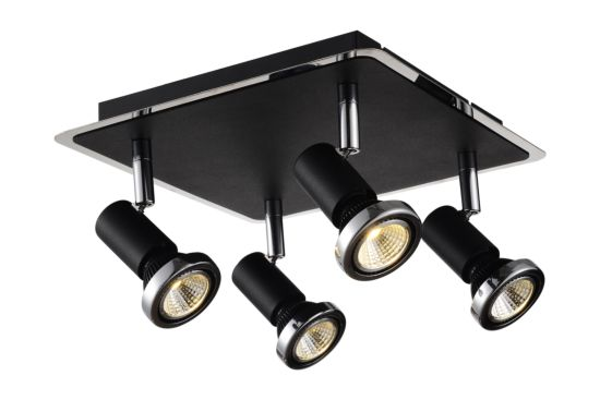 LED spot met 4 spots 5W GU10 chroom zwart