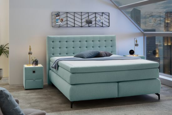 Boxspring Jessica normal 180x200cm stof turquoise