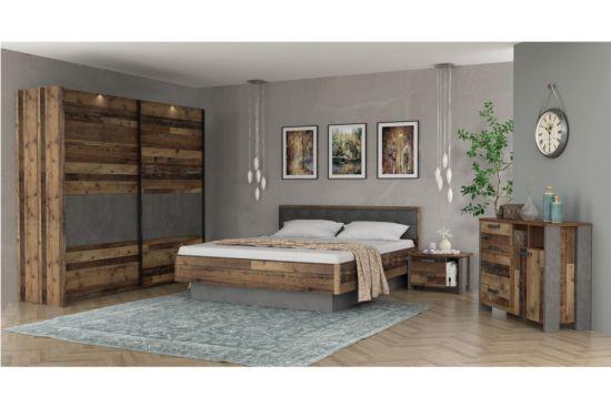 Slaapkamer met bed 180x200cm - kleerkast 220cm
