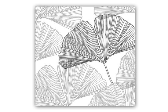 Servet Gingko Leaves 33x33cm grijs 20 stuks