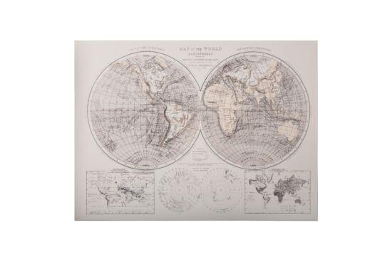 Doek met print Wereldkaart  58x78cm