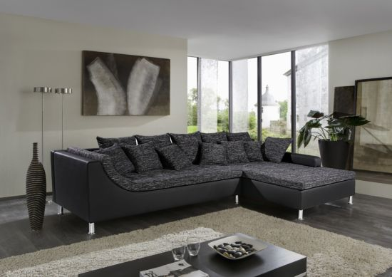 Hoeksalon Montego stof lederlook zwart grijs