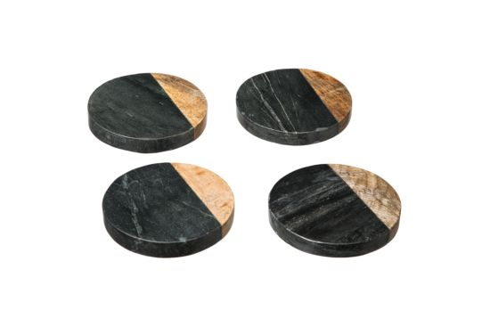 Onderzetters voor glazen Geo Marmer Ø10,2cm, set van 4