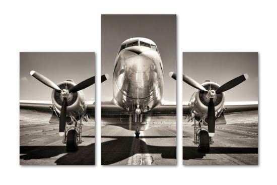 Print op canvas Aviation  120x80cm, set van 3