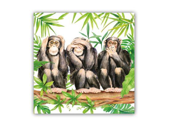 Servet Three Apes 25x25cm multicolor 20 stuks