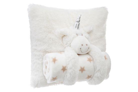 Kussen Unicorn met plaid 35x20cm beige