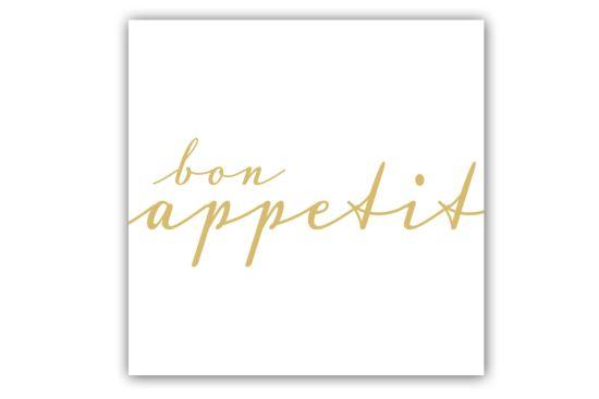 Servet Bon Appetit 33x33cm wit/goud 20 stuks