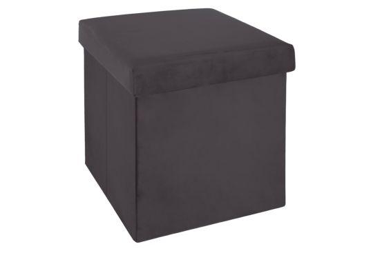 Poef Tess 38x38cm stof grijs