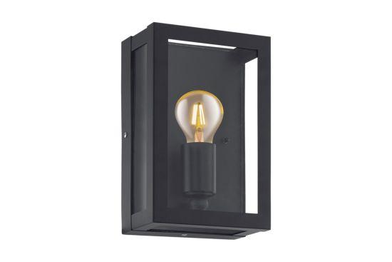 Wandlamp Alamonte zwart transparant 60W E27