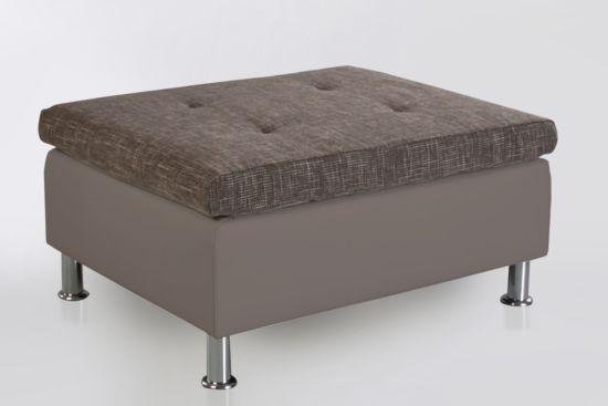Voetenbank Montego 99x76cm lederlook stof taupe bruin