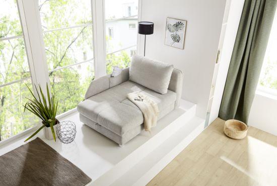 Chaise longue Rocco Recamiere met bedfunctie stof beige