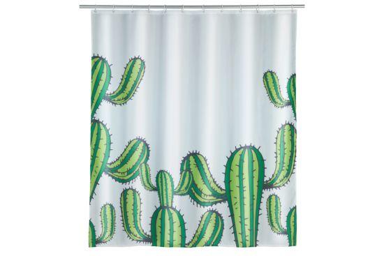 Douchegordijn Cactus 180x200cm groen wit