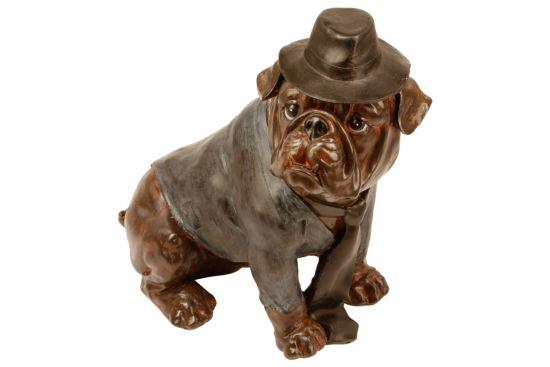 Deco Zittende hond met hoed H43,5cm