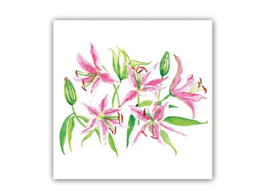 Servet Stargazer Lilies 25x25cm roze/groen 20 stuks