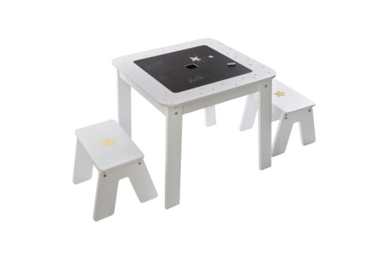 Set kindertafel en krukjes Girl  mdf wit goud