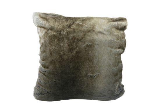 Kussen Wolf 45x45cm grijsbruin