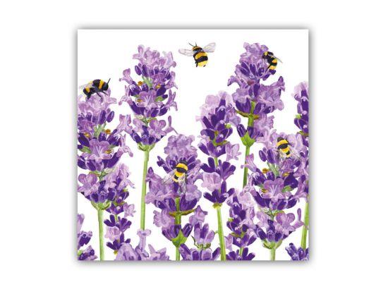 Servet Bees & Lavender 25x25cm paars 20 stuks