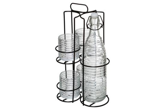 Set Modern Wood set van glazen en fles