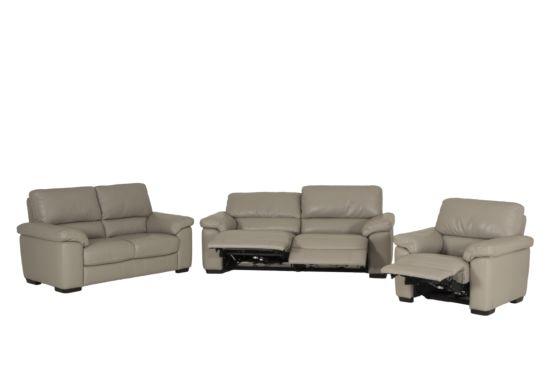 Zetel Aventine elektrische relax 2+2+1-zit leder grijs