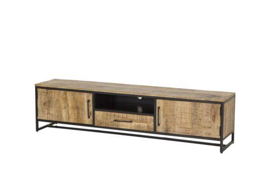 Industrieel tv-meubel Woodcraft mangohout 190cm