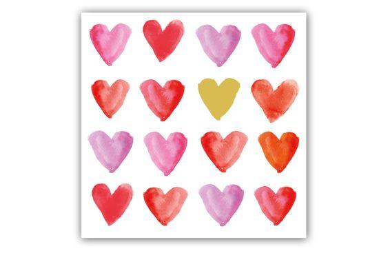 Servet Aquarell Hearts 33x33cm rood 20 stuks