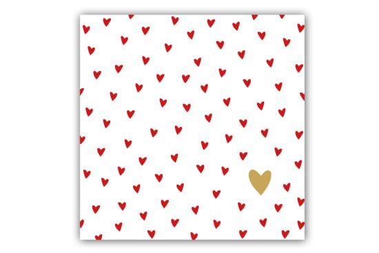 Servet Little Hearts 33x33cm rood/goud 20 stuks