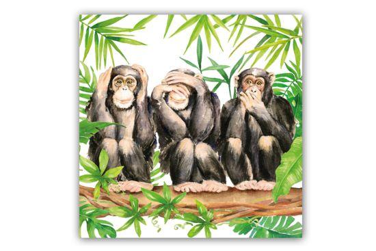 Servet Three Apes 33x33cm multicolor 20 stuks