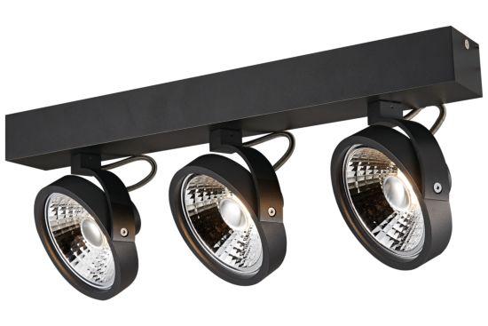 LED spot met 3 spots 12W AR111 zwart