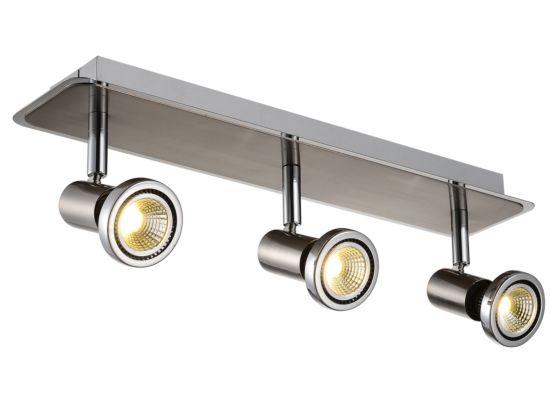 LED spot met 3 spots 5W GU10 chroom satijn
