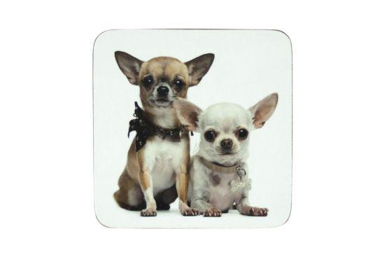 Onderzetters voor glazen Chihuahua 10x10cm, set van 6