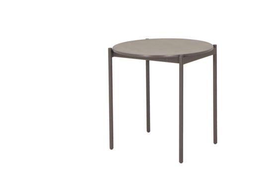 Tuintafel Cara Ø70xH73cm metaal/cement bruin