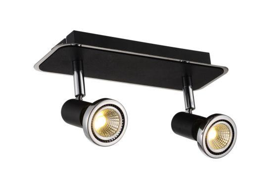 LED spot met 2 spots 5W GU10 chroom zwart