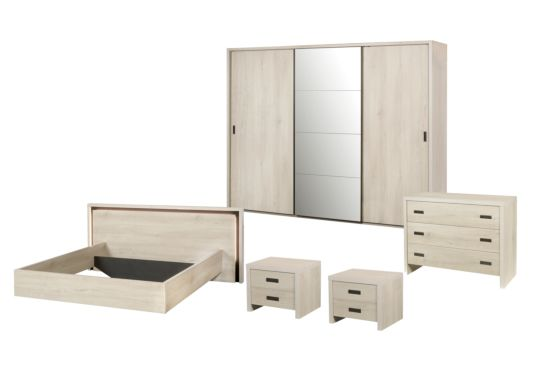Slaapkamer met bed 180x200cm - kleerkast 280cm