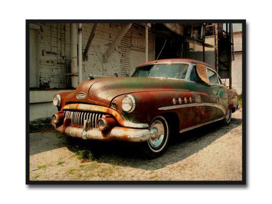 Foto op canvas Oldtimer rood 50x70cm