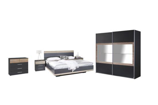 Slaapkamer met bed 180x200cm - kleerkast 226cm