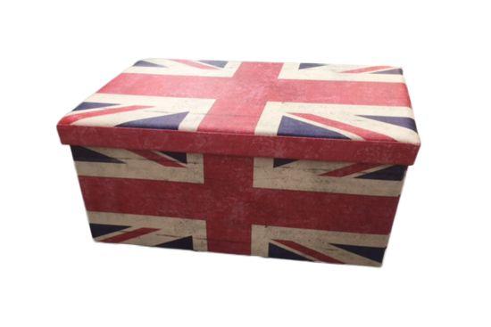 Opbergkoffer UK 76x38x38cm lederlook blauw rood wit