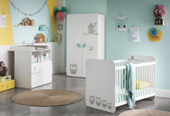 Babykamer Hiboux met 2-deurs kast