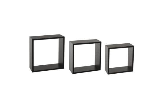 Wandrek Cube 30x12x30cm, set van 3, zwart