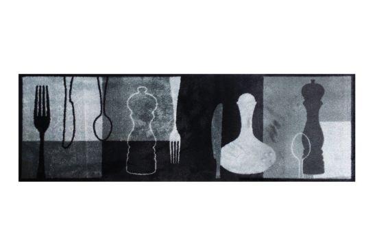 Keukenloper Decosoft 50x150cm zwart/grijs