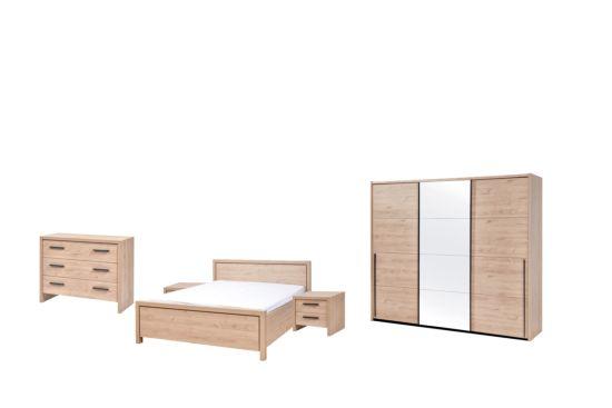 Slaapkamer met bed 180x200cm - kleerkast 203xm