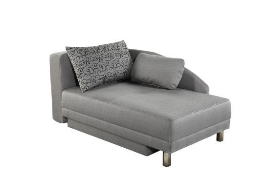 Chaise longue Roy Recamière met bedfunctie stof grijs